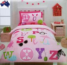 Aus Qlty Alphabet/Zoo/Animal Print Single Bed Doona/Duvet Quilt Cover Set