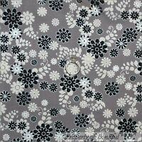 BonEful Fabric FQ Cotton Quilt Gray Black White B&W Flower Metallic Silver Swirl