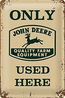 John Deere Only Usato Here Goffrato Segno Del Metallo 300mm x 200mm (Na)