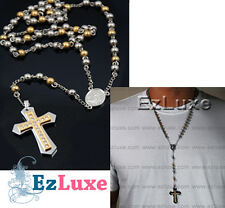 Cz Stainless Rosary Necklace gold Two Tone bead beckham