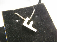 "STERLING SILVER 925 Letter ""F"" HEAVY INITIAL PENDANT NECKLACE 18"" Box Chain"