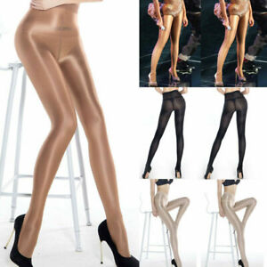 Plus Size Super Shiny Glossy Sheer Stockings Tights Pantyhose Crotch/Crotchless.