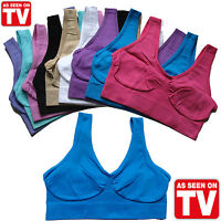 Womens Ladies Seamless Crop Top Comfort Bra Sports Gym Vest Stretch Shapewear UK