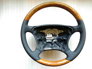 Mercedes-Benz W220 W215 HEATED BLACK LEATHER Steering wheel CHESTNUT WOOD OEM