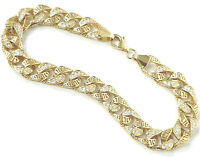 14k Gold Bracelet Men's Size Semi Solid Greek Key Style Cubic Zirconia 8.25""