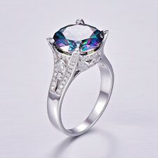 Quality Switzerland MYSTIC Topaz Ladies Ring,10 Carats Genuine Sterling Silver