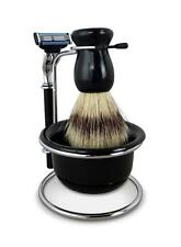 Shaving Kit 4 Pcs Shave Razor Badger Brush Stand Soap Bowl Mug Gift Set Beard