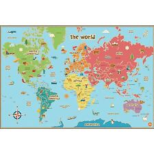 WORLD MAP KIDS WALLPOPS LAMINATED DRY ERASE WITH PEN KIDS PLAYROOM