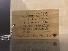 Personalised Calendar Keyring Father's Day Birthday Daddy engraved on both sides