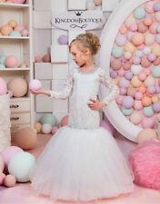Mermaid Long Sleeve Lace Flower Girl Dresses Kids Wedding Birthday Party Dresses