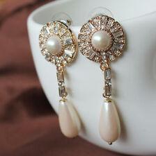Boucles d`Oreilles Fleur Cristal Perle Goutte Original Soirée MariageCadeau BB 5
