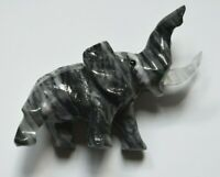 Vintage Black Onyx/White Agate Hand Carved Elephant With Quartz Tusks Gem Eyes