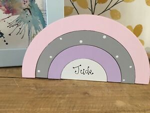 Personalised New Baby Girl Daughter Freestanding Wooden Rainbow Name Plaque