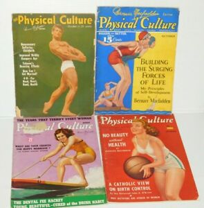 VINTAGE 1938-40 LOT OF 4 PHYSICAL CULTURE BODYBUILDING MAGAZINES