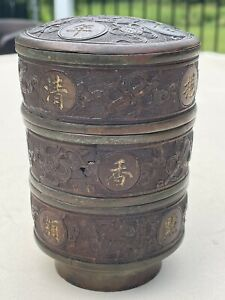 Beautiful 19th Century COCONUT ON PEWTER Stacking Tea Sweet meats Boxes Signed