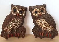 Vintage 70s Retro Foam Plastic Resin Pair of Brown OWLS Wall Hanging Art Decor