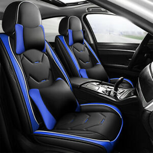 MONREBO Universal Pu Leather Car Seat Covers Front Rear Seat Protector Pillows