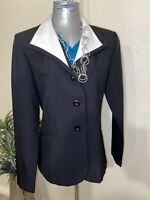JT Collection 3 Button Black Womens Blazer Size 8 White Trim Collar, Career