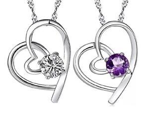 Halskette mit Anhänger Herz 925 Silber lattiert Zirkon Herz Lila / Weiß NEU 110