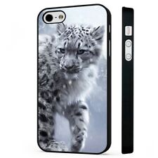White Snow Leopard Cat BLACK PHONE CASE COVER fits iPHONE