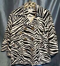 5fc16e0e7daf Just B Berek Blazer Double Breasted Jacket Zebra Print Size Large 3/4  Sleeve SzL