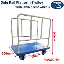 TCS New 300kg Industrial Dual Side Handle Platform Trolley Silent Rubber Wheels
