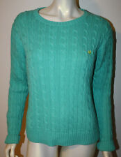 LILLY PULITZER Aqua Blue LS Cable Knit Sweater L Cotton Crewneck