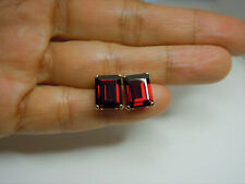 8ctw genuine GARNET stud earrings 14k gold 14kt EMERALD CUT Dark RED