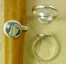 Solid Sterling Silver Adjustable Ring Finding with 12mm Blank Pad Setting