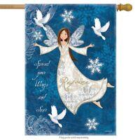 "Rejoice Angel Winter House Flag Religious Primitive 28"" x 40"" Briarwood Lane"