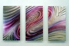 Purple Abstract Panel Metal Wall Art Painting - Contemporary Decor by Jon Allen