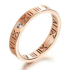 Men Women Roman Numerals Rhinestone Titanium Stainless Steel Band Ring 4mm Width