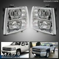 For 07-13 Chevy Silverado 1500/2500/3500 Clear Corner Headlights Replacement