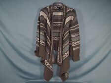 Women Sweater Wrap Open Cardigan Brown Gray Striped Willi Smith Size L Large