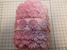 1m - Pink Velvet Daisy Flower Motif - Apllique,Trimmings,Wedding Lace Ribbon