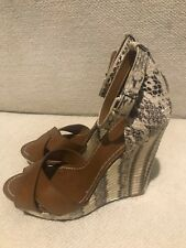 TORY BURCH Snake Skin And Leather Wedges Sandals Shoes Sz 7M