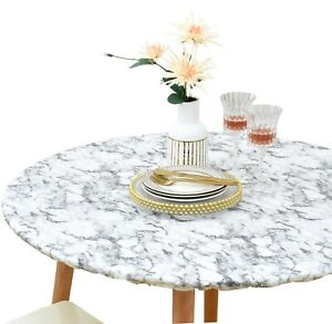 Vinyl Tablecloth Round Fitted Elastic Flannel Back White Marble Pattern 28-56''