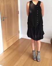 All Saints Carey Sheer Dress Button Black Chiffon Floaty Goth Rock Chick Boho