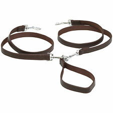 Double Leather Dual Dog Walking Leash Coupler 2 Way Multiple Pet Lead No Tangle