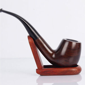 Classic Leaflets Ebony Wood Tobacco Smoking Pipes 9mm filter element Best HC