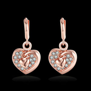NEW ARRIVAL ROSE GOLD PLATED HEART CRYSTAL DANGLE DROP EARRINGS - TOP QUALITY