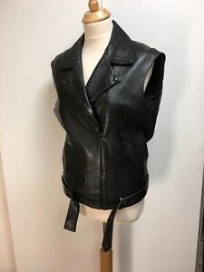 Sandro black lamb leather sleeveless biker jacket waistcoat 1 S