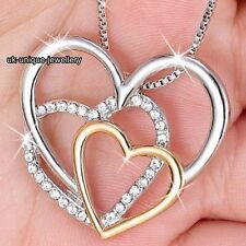 Valentines Gifts For Her - Silver & Gold Crystal Hearts Necklace Women Wife Love