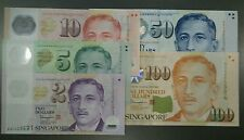 Set of 5 SINGAPORE Dollars Banknote Note Money Currency $2 $5 $10 $50 $100 UNC