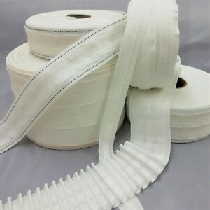 PENCIL PLEAT CURTAIN TAPE 1in, 2in, 3in, 6in String, Woven Pockets, Cut Lengths
