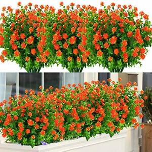 Bundles Outdoor Artificial Flowers UV Resistant Fake Boxwood 6 Orange Red