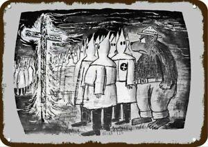 1966 SMOKEY THE BEAR MAD at KU KLUX KLAN & FIRE Vintage Look REPLICA METAL SIGN