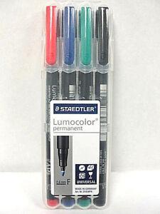 Staedtler Lumocolor Permanent Pen 318WP4 Fine Point Pen Set New!