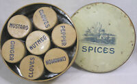 Vtg Antique Tin Spice Set in Round Container Holland Scene on Lid 1920s