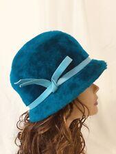 Vtg Evelyn Varon Women's Hat Turquoise Blue Faux Fur Cloche 20s 30s 40s Art Deco